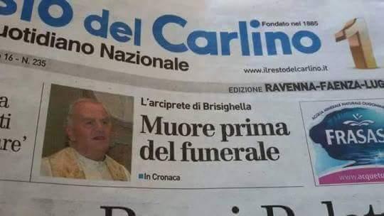 Muore prima del funerale