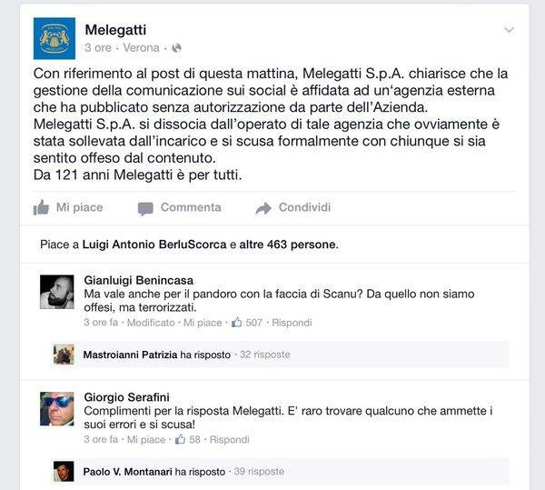 social media epic fail melegatti risposta