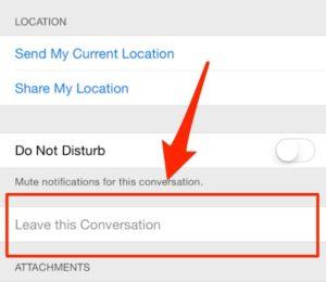 lasciare una conversazione su iphone