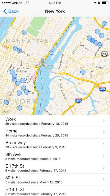 Vedere i luoghi dove sei stato con iPhone